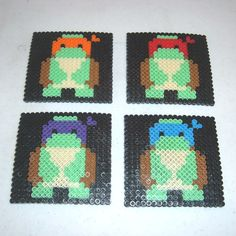 Perler Bead Coasters - BABY TURTLES. $13.95, via Etsy.