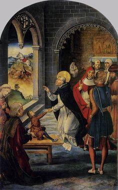 (Spain) Berreguete, Pedro~St Dominic Resurrects a Boy 1495~Tempera and oil on wood, 122 x 83 cm Museo del Prado Madrid