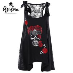 997319090aa AZULINA Plus Size Skull Floral Handkerchief Lace Panel Top Women Tanks  Gothic Summer O Neck Sleeveless