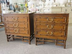 """Ficks Reed Faux Bamboo Nightstands  Price: $550.00  Stock Number: 7036   Dimensions: 26""""H x 18.5""""D x 24""""W   Other Dimensions:    Status: Available   Description: Pair of Ficks Reed Faux Bamboo Nightstands with Rattan Bases & Brass Hardware. They are in nice as found VINTAGE condition."""