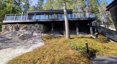 Lake and kuntta – Villa Glass House Pine Trees Forest, Small Lake, True Nature, Glass House, Evergreen, Fields, Villa, Landscape, Building