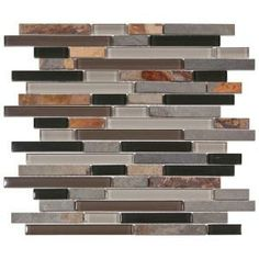 Amazing way to get the natural slate look & elegant glass tile togther! <3 This!  Merola Tile Tessera Piano Stonehenge 11-3/4 in. x 11-3/4 in. Glass and Stone Mosaic Wall Tile   $13.75
