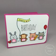 Mel's Card Corner | Baby Party Animals Birthday Card