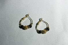 Vintage Reticulated Gold & Black Beads Hoop Earrings Costume Jewelry by KattsCurioCabinet on Etsy