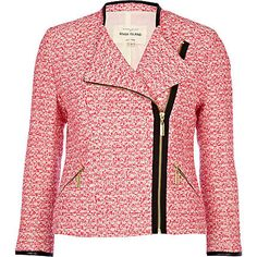 pink tweed biker jacket - jackets - coats / jackets - women - River Island