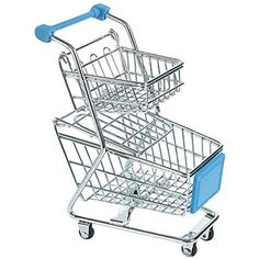 Sangdo Sky Blue 2 Layer Mini Shopping Trolley Kid Pretend Play Toy Supermarket Cart -- You can find more details by visiting the image link.