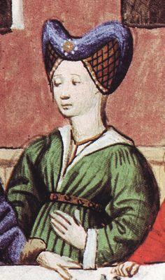 From an illustrated 15th century French translation of Boccaccio's Decameron. Pognon, Edmond (translated by Tallon, J. Peter). Boccaccio's Decameron. Liber SA, 1978. U-shaped caul headdress.