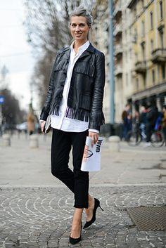Sarah Harris in Saint Laurent leather fringed jacket available at MATCHESFASHION.COM #MATCHESFASHION