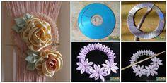 DIY Ribbon Flower Curtain Knot from Old CD   www.FabArtDIY.com