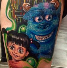 Monsters Inc tattoo by Roman Abrego. Nerdy Tattoos, Pin Up Tattoos, Disney Tattoos, Love Tattoos, Unique Tattoos, Awesome Tattoos, Tatoos, Sully And Boo, Monster Tattoo