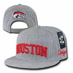 e19a565e602b3b Gray University of Houston UH Cougars NCAA Flat Bill Snapback Baseball Hat  Cap #WRepublic #