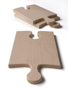 puzzle cutting board, planche à découper en forme de puzzle