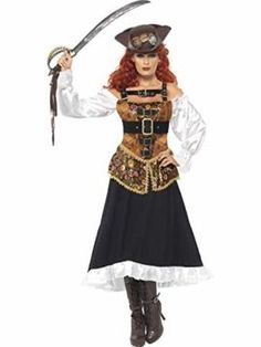 2018 Gatton Steam Punk Pirate Costume Womens Ladies Victorian Halloween Fancy Dress Outfit and more Sexy Costumes for Women, Women's Halloween Costumes for Victorian Halloween, Halloween Kostüm, Halloween Fancy Dress, Halloween Costumes, Halloween Decorations, Pirate Wench Costume, Pirate Dress, Pirate Costumes, Steampunk Pirate