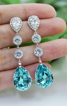 c66a9444d807 Light Turquoise Bridal Earrings from EarringsNation Turquoise Wedding  Tiffany Blue Wedding Bridesmaid Gifts . Azul Tiffany