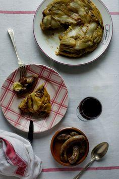 Mimi Thorisson's vegetable tarte tatin - layered endives, chestnuts, artichokes, potatoes, and pastry.