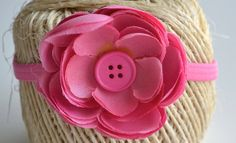 Pink flower headband by ShuhpuppyAndDeppy on Etsy, $3.00