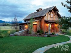 Rustic Cabin Life added a new photo. Barn House Plans, Barn Plans, Haus Am See, Mountain Living, Mountain Cabins, Barn Living, Pole Barn Homes, Log Cabin Homes, Log Cabins