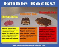 """Perfect for a fun twist. :) Edible """"rocks"""" Earth Science fun"""