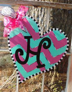 Valentine Wooden Door Hanger by GirlyGirlMomma on Etsy, $40.00