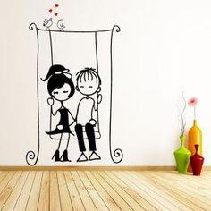 vinyl-decorative-children-in love - fsdgfd - Simple Wall Paintings, Wall Painting Decor, Stencil Painting, Wall Decor, Casa Art Deco, Art Deco Home, Graffiti Wall Art, Wall Murals, Cartoon Wall
