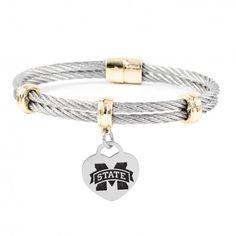Mississippi State University Bulldogs Charm Bracelet Stainless Steel Magnetic Clasp Bangles