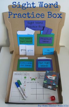 Sight Words- I like boxes for those kids who are always done early and need quiet centers.
