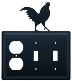 Iron Rooster Outlet, Double Switch Cover - Black Metal