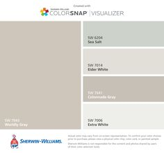 I found these colors with ColorSnap® Visualizer for iPhone by Sherwin-Williams: Worldly Gray (SW 7043), Sea Salt (SW 6204), Eider White (SW 7014), Colonnade Gray (SW 7641), Extra White (SW 7006).