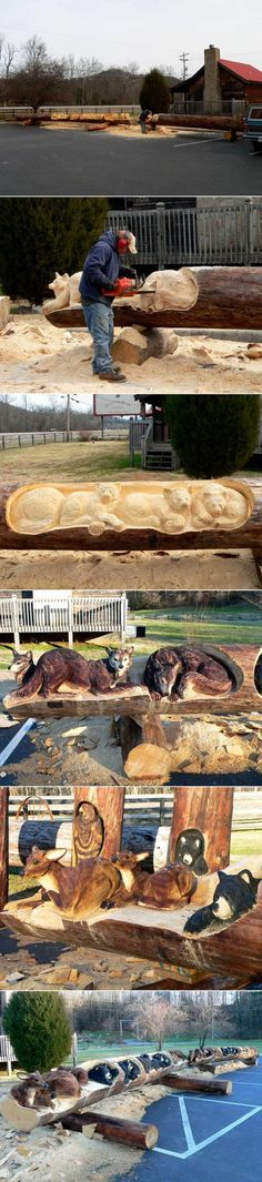 Funny pictures about Art with a chainsaw. Oh, and cool pics about Art with a chainsaw. Also, Art with a chainsaw. Chain Saw Art, Carved Wood Signs, Tree Carving, Wood Creations, Wooden Art, Wood Sculpture, Tree Art, Wood Design, Amazing Art