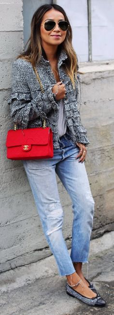 "STORETS 'Fringe a Lot' tweed jacket // FREE PEOPLE 'Free falling shirttail"" v-neck tee // LEVI'S 101 from REDONE // CHANEL jersey 2.5 bag CHANEL flats"