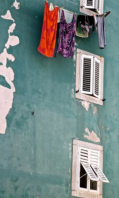 Croatia - Cres house front Window View, Balconies, House Front, Windows And Doors, Shutters, Stuff To Do, Explore, Places, Summer