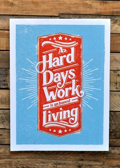 Image of A Hard Days Work