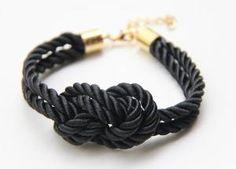 Black silk warp Bracelet  24k gold plated by TheUrbanLady on Etsy