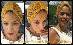 Crochet Turban & Head Wrap Pattern Collection. 4 pattern included in E-book