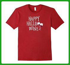Mens Funny Womens Halloween Shirt Happy Hallowine Wine Tshirt Large Cranberry - Food and drink shirts (*Amazon Partner-Link)