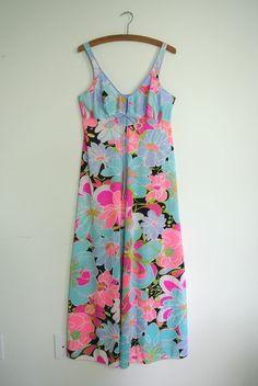Vintage Rare 60's OLGA SZ 36 Floral Pop NIGHTGOWN Gown Sissy #9220 Nylon #Olga