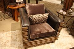Bella Rustica's club chair is modern, with a full outer frame of wood.