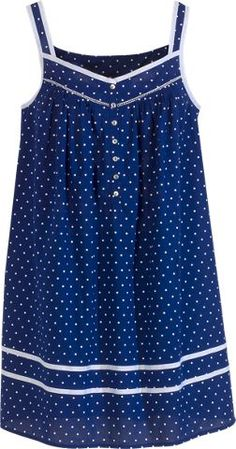 Eileen West summer chemise with grosgrain ribbon detail and button-front placket. Polka dotted cotton lawn nightgown features contrasting cloud-white polka dots , a must-have for seaside getaways. Cotton Nighties, Cotton Dresses, Clothing Patterns, Dress Patterns, Pinterest Fashion, Nightwear, Night Gown, Baby Dress, Blouse Designs