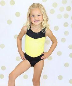 1ce0c248a6 Love this Yellow   Black Cutout Leotard - Girls on. Niva Miche