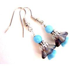 SALE, Black Silver Flower Earrings, Blue Baby Bell Flower Earrings,... ($15) ❤ liked on Polyvore featuring flower jewellery, blue earrings, silver jewellery, silver flower jewelry and blue silver jewelry