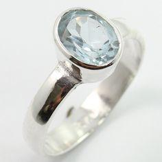 Elegant Ring Size US 6.5 Natural BLUE TOPAZ Faceted Gemstone 925 Sterling Silver #SunriseJewellers #Fashion