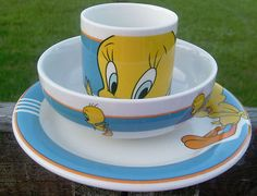 Tweedy Bird Cup Bowl and Dinner plate.