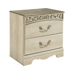 Ashley Catalina B196-92 Signature Design Two Drawer Night Stand - The Catalina bedroom collection is bathed in a light opulent finish that is beautifully accented with carved scrolling and the ornate metal designs to create the perfect traditional setting for your bedroom's decor.