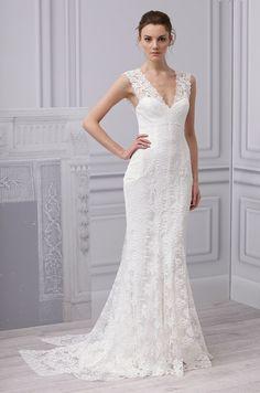 Monique Lhuillier lacy wedding dress, Spring 2013