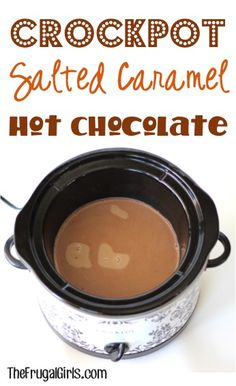 Crockpot Salted Caramel Hot Chocolate Recipe From It's The Perfect Mix Of Sweet And Salty, Great For Parties And Holiday Gatherings, Too Crock Pot Slow Cooker, Crock Pot Cooking, Slow Cooker Recipes, Crockpot Recipes, Cooking Recipes, Salted Caramel Hot Chocolate, Hot Chocolate Recipes, Hot Chocolate Vodka, Yummy Drinks