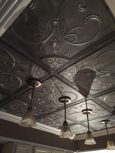 French Quarter Ceiling Tile - White is a waterproof ceiling tile, made from dense polyvinyl and built to last. Great for basements, kitchens, bathrooms and businesses. Ceiling Tiles Painted, Styrofoam Ceiling Tiles, Metal Ceiling Tiles, Copper Ceiling, Ceiling Grid, Grey Ceiling, Ceiling Decor, Ceiling Lights, Ceiling Ideas