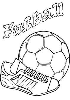 Ausmalbild Fußball - Fussballschuh und Ball ausmalen /// Los gehts mit Fußball! Kostenlose Malvorlagen & Scherenschnitte Fußball - Ausmalbild Rückfallzieher
