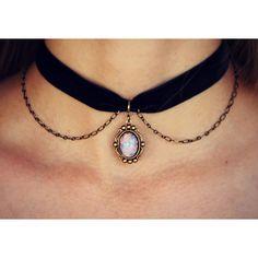 pink opal velvet choker, opal choker, pink opal necklace, short... ($23) ❤ liked on Polyvore featuring jewelry, necklaces, ribbon necklace, chain choker, opal necklace, velvet choker and ribbon choker necklace