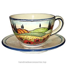 CERAMICHE D'ARTE PARRINI – Italian Ceramic Mug Cup & Saucer Breakfast Milk Decorated Poppies Landscape Hand Painted Made in ITALY Tuscan Check It Out Now     $73.00    Ceramic Cup & Saucer Breakfast Milk . Tuscan landscape with rolling hills, vineyards, cypresses, olive trees, houses  ..  http://www.handmadeaccessories.top/2017/03/25/ceramiche-darte-parrini-italian-ceramic-mug-cup-saucer-breakfast-milk-decorated-poppies-landscape-hand-painted-made-in-italy-tuscan/