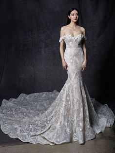 Shop our chic Enzoani Couture Wedding Dress and Bridal Gown Collection at Bridal Reflections. Contact us to schedule your private bridal appointment. Elegant Wedding Dress, Best Wedding Dresses, Designer Wedding Dresses, Bridal Dresses, Backless Wedding, Lace Wedding, Dream Wedding, Ball Dresses, Ball Gowns